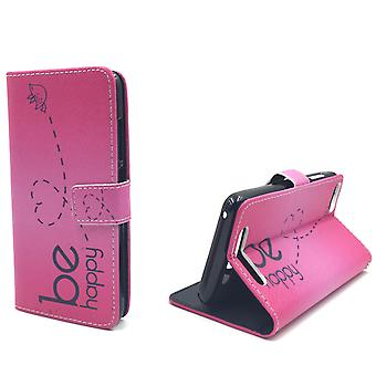 Mobile phone case pouch for mobile WIKO Jerry be happy pink
