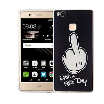 Handy Hülle für Huawei P9 Lite Cover Case Schutz Tasche Motiv Slim TPU + Panzer Schutz Glas 9H Mittelfinger