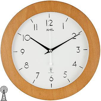 Radio controlled wall clock wood frame beech veneered mineral glass wall clock wood