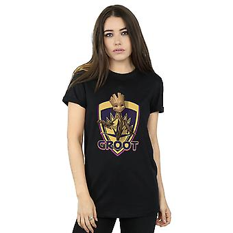 Marvel Women's Guardians of The Galaxy Groot Badge Boyfriend Fit T-Shirt