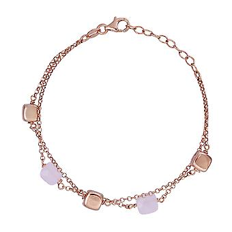 Orphelia 925 sølv dobbelt Rose armbånd med Pink sten 19 CM ZA-7432