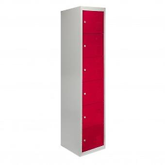 Metal Storage Lockers - Six Doors, Red