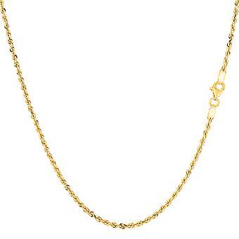 14k geel massief goud diamant geslepen Rope Chain ketting, 1.25mm