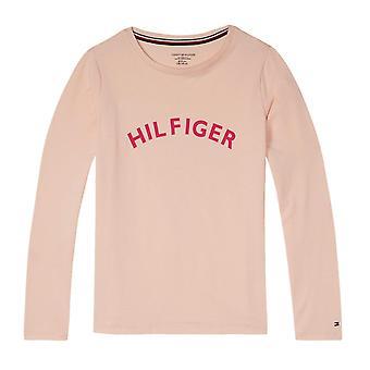 تومي هيلفيغر البنات جريئة طويلة الأكمام شعار المحملة--الوردي