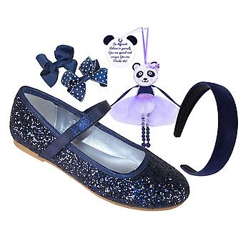 Girls blue glitter ballerina shoes and accessories gift set