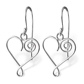 Wire Heart - 925 Sterling Silver Plain Earrings - W20231x