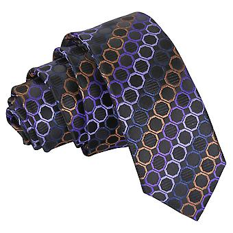 Black, Purple & Bronze Honeycomb Polka Dot Skinny Tie