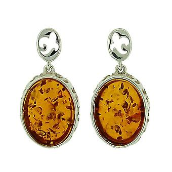 The Olivia Collection Sterling Silver Fancy Rim Oval Amber Drop Stud Earrings