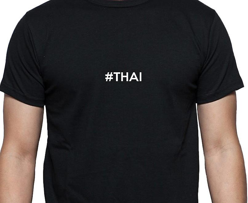 #Thai Hashag Thai Black Hand Printed T shirt