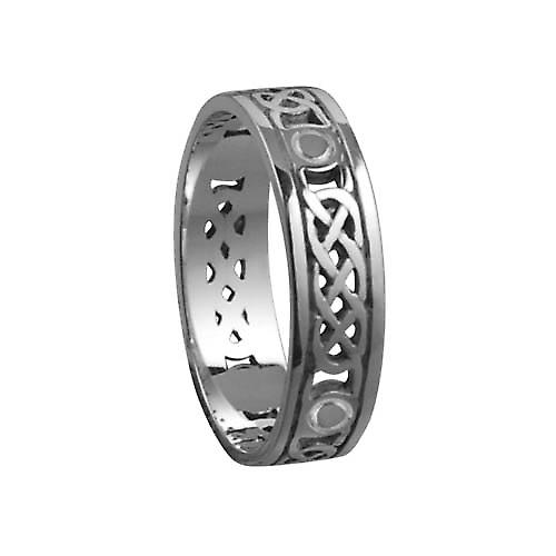 Silver oxidized 6mm pierced Celtic Wedding Ring Size Z