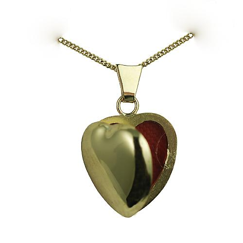 18ct Gold 17x16mm plain heart Locket with a curb chain