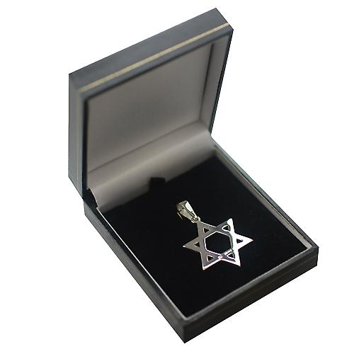 Silver 31x27mm plain Star of David Pendant on a bail