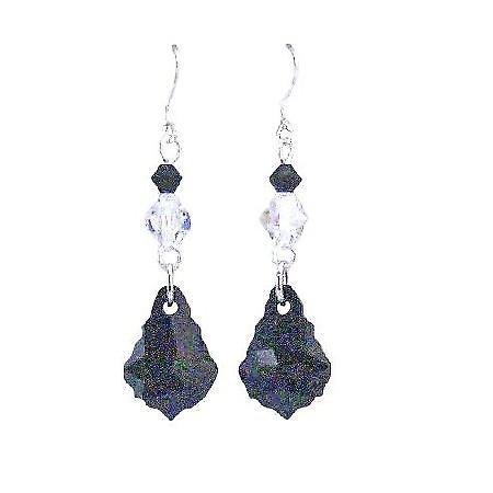 AB Crystals & Jet Crystal Combo Dangling Teardrop Silver Hook Earrings