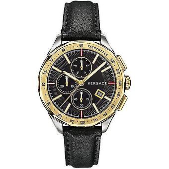 Versace mens watch wristwatch chronograph GLAZE leather VEBJ00218