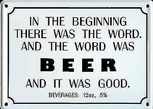 In the Beginning..Beer funny miniature sign / fridge magnet