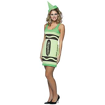 Womens Crayola Crayon Screaming Green Fancy Dress Costume