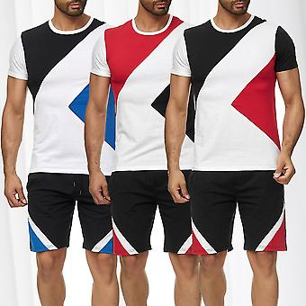 Mens Sports Set T-Shirt Shorts Kombi Color-Blocking Shortsleeve Jersey and Pants