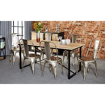 Maison Industrial Metal & Wood 6 Seater Dining Set With Metal Silver Chairs