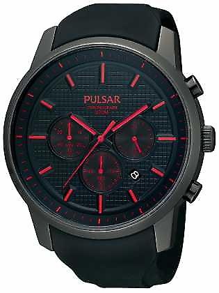 Pulsar Mens Black Ion-Plated Red Detail Rubber Strap PT3195X1 Watch