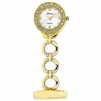 The Olivia Collection Gold Tone Round Open Link Professional Fob Watch TOC72