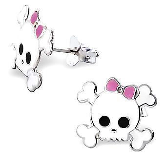 Bowed Skull and Crossbones Stud Earrings