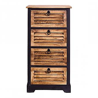 Furniture Rebecca Cabinet Mobile 4 Drawers Black Brown Wood Vintage 81x40x27
