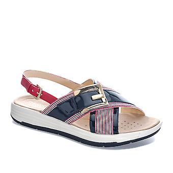 Womens Geox Koleos Sandals In Navy / White / Red