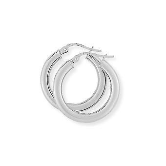 Jewelco London Ladies 9ct Bianco Oro - 3mm Gauge Classic Plain Hoop Orecchini - 20mm
