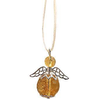 Nyleve Designs handmade Semi-precious Citrine Gemstone Guardian Angel in Silver Plated - Happiness, Positivity, Abundance