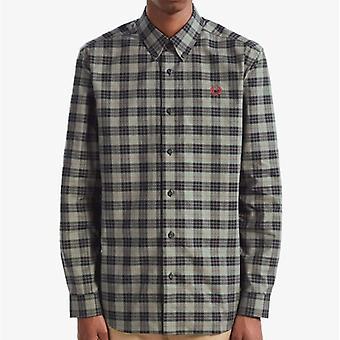 Fred Perry M7557 tartan L/s camisa de carvão vegetal
