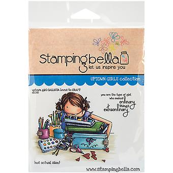 Estampage de Bella s'accrochent Rubber Stamp 3,75