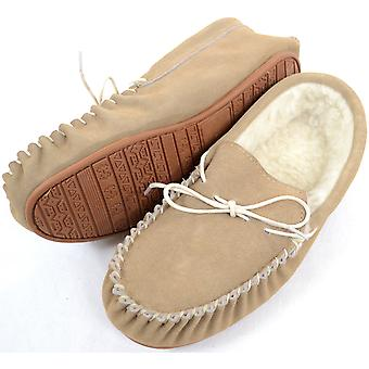 Mens Beige Suede / Sheepskin Wool Moccasins with Rubber Sole - UK 12