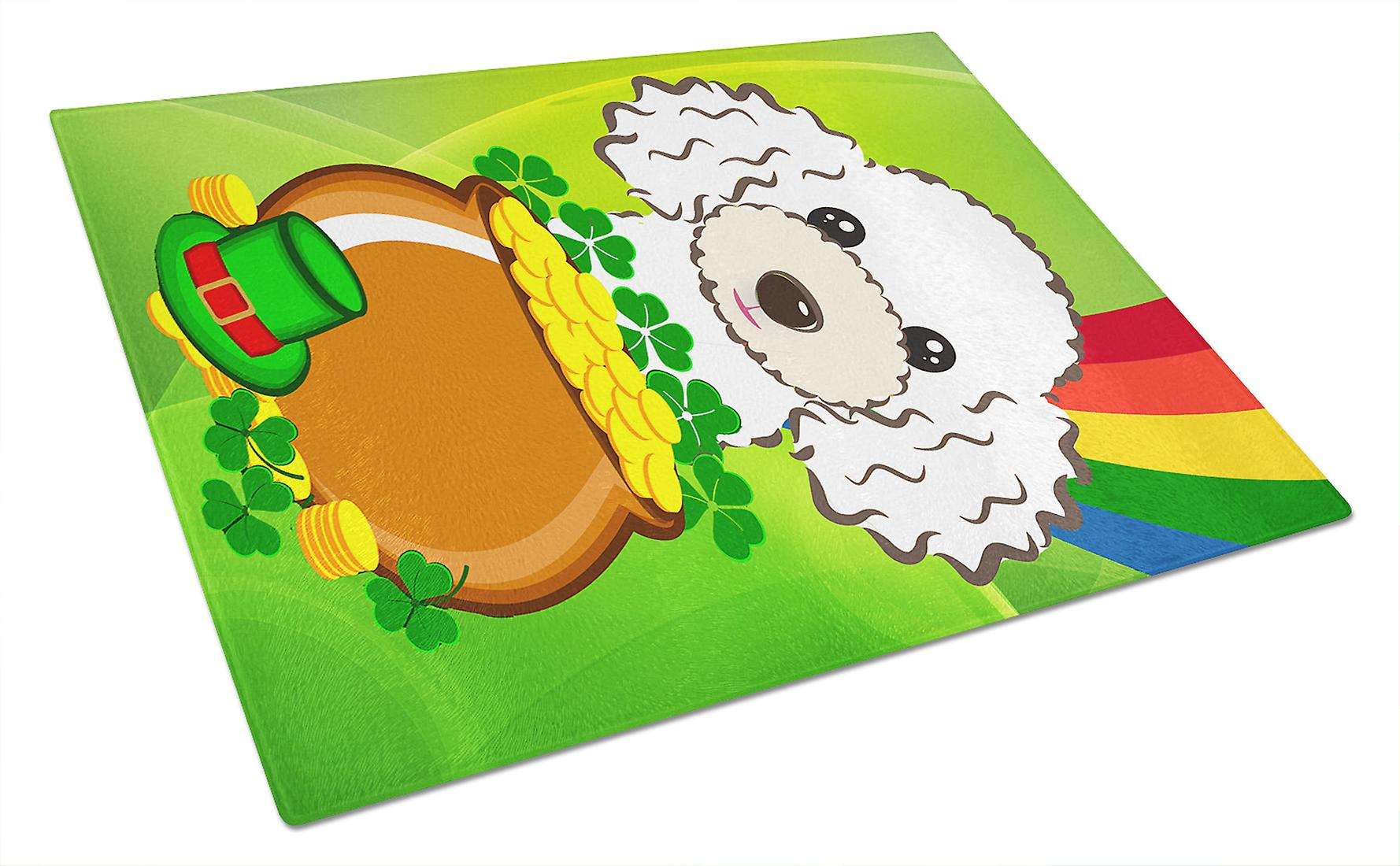 White Poodle St. Patrick's Day Glass Cutting Board Large BB2001LCB