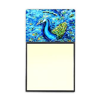 Peacock Straight Up in Blue Refiillable Sticky Note Holder or Postit Note Dispenser MW1166SN