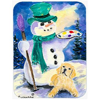 Snowman with Golden Retriever Glass Cutting Board Large