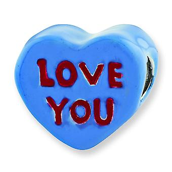 Sterling Silver Red Enamel Blue Enamel Reflections Kids Love You Enameled Heart Bead Charm
