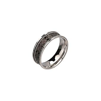 Men's stainless steel ring with checkerboard