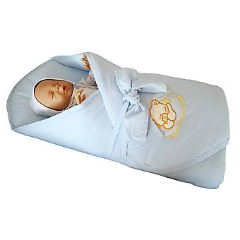 BlueberryShop Jersey Embroidered Swaddle Blanket Wrap for Newborn Baby Stiffened/Hard  Back (Removable Sponge Insert)