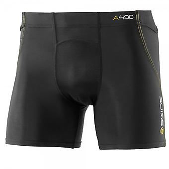 SKINS A400 Men's Shorts black with yellow stitching - B40001009