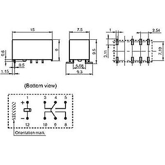 PCB relays 5 Vdc 2 A 2 change-overs Hongfa HFD3/005S 1 pc(s)