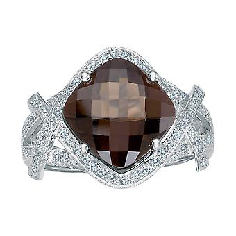 14k White Gold Smokey Topaz And Diamond Ring