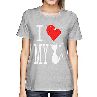 Men's Cute Graphic Statement T-Shirt - I Love My Cat Grey Graphic Tee