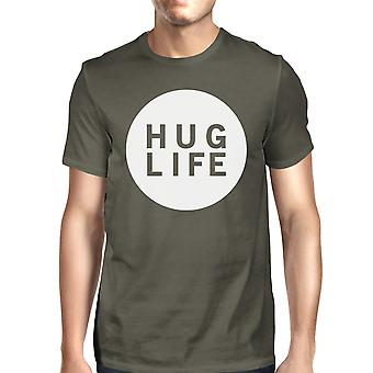Hug Life Men's Dark Grey T-shirt Crew Neck Graphic Tee For Men