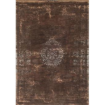 Ebony Brown Distressed Traditional Flatweave Rug - Louis De Poortere