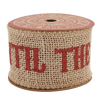 'Do Not Open' Christmas Hessian Jute Wide Ribbon 3m Xmas Wrap