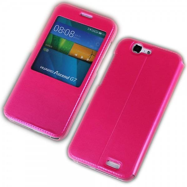 Booktasche window Pink for Huawei Ascend G7