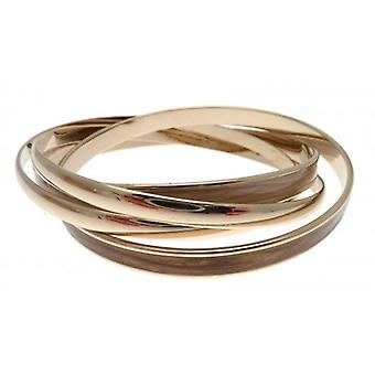 W.A.T Set Of Brown Enamel And Gold Style Fashion Bangles