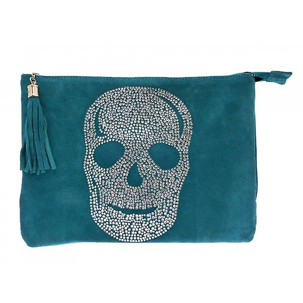W.A.T Crystal Skull Tassel Shoulder Bag Teal Blue Faux Suede