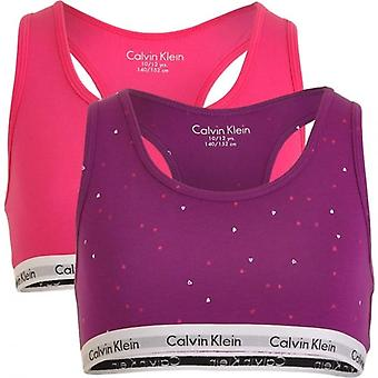 Calvin Klein Girls 2 Pack Modern Cotton Bralette, Viva Pink / Bold Violet Hearts, Medium