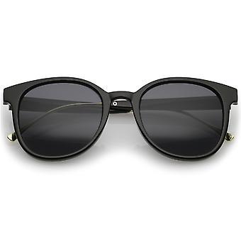 Cuerno de lente casual Metal templo Plaza montura gafas de sol 52mm